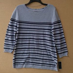 NWT Karen Scott striped cotton lace up sweater.